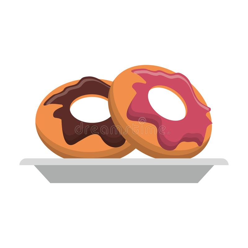 Donuts desserts on dish Vector illustration. Donuts desserts on dish cartoon vector illustration graphic design royalty free illustration