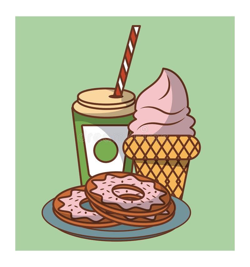 Donuts and desserts food. Cartoons vector illustration graphic design stock illustration