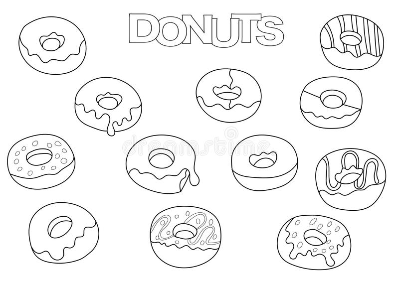 donuts elements set coloring book template