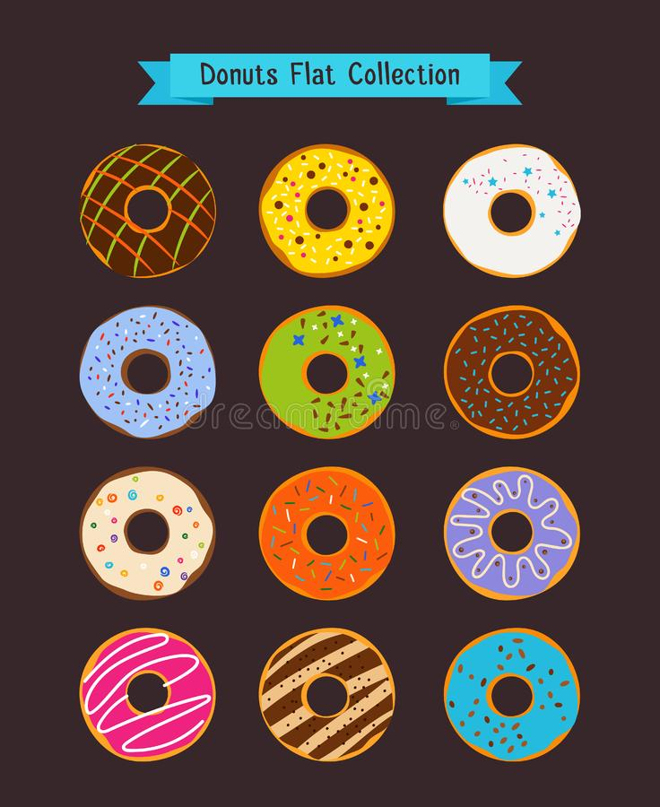 Donuts flat icons. Donut and coffee shop elements. Set of snack dessert illustration royalty free illustration