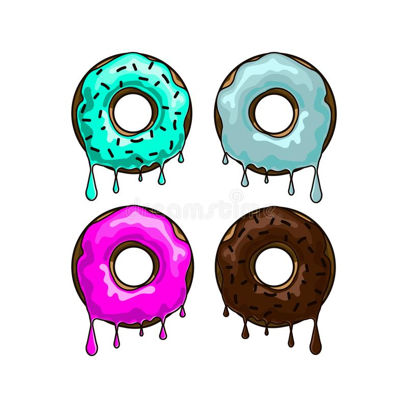 Donuts with flowing caramel vector illustration
