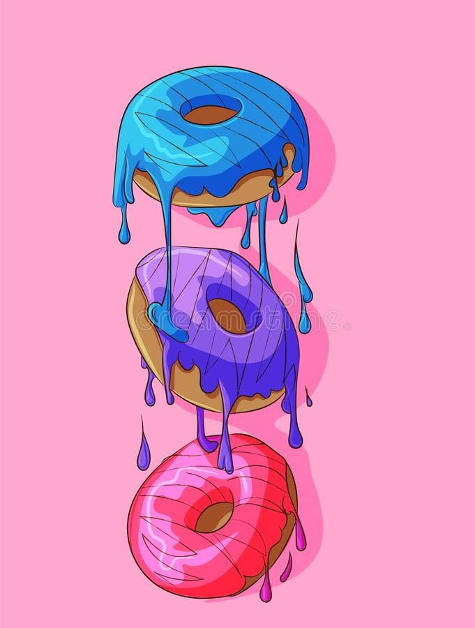 Donuts with frosting on top melting. Summer, sweet cute cakes, bakery, blue, purple and pink with delicious glaze on top. Donuts f vector illustration