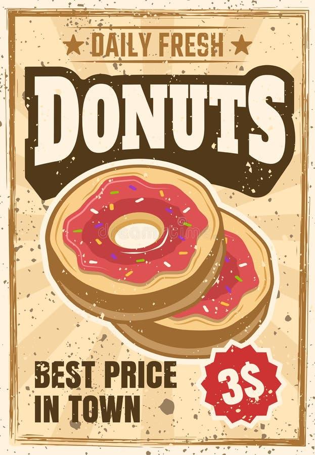 Donuts gekleurde uitstekende reclameaffiche royalty-vrije illustratie