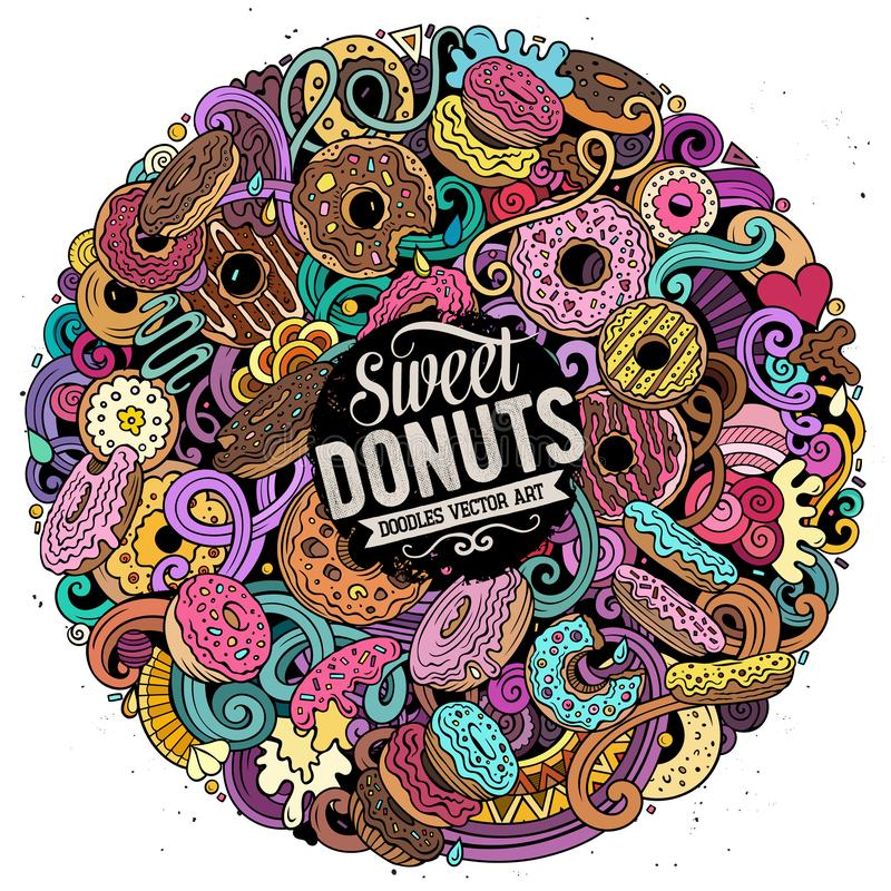 Donuts hand drawn vector doodles round illustration. Sweets poster design. Doughnut elements and objects cartoon background. Bright colors funny picture. All stock illustration