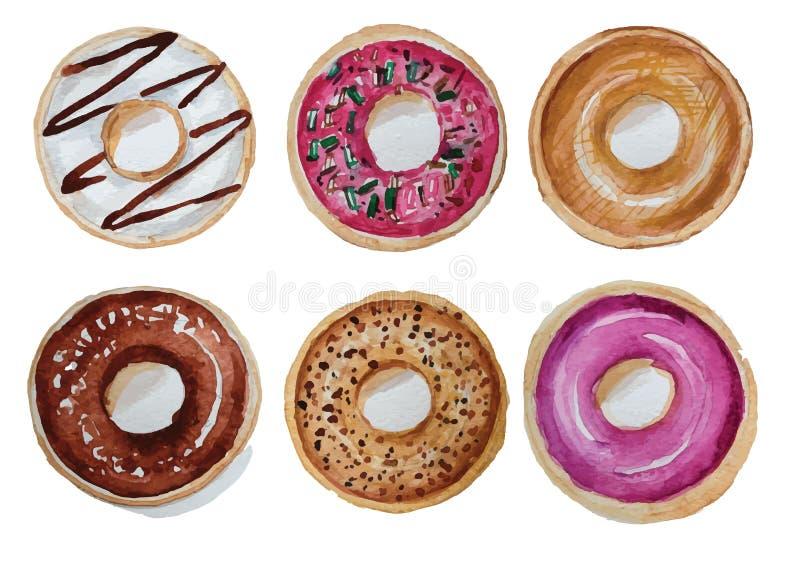 Donuts het vastgestelde hand getrokken waterverf schilderen op witte achtergrond geïsoleerde beelden voor voorwerp of royalty-vrije stock foto's