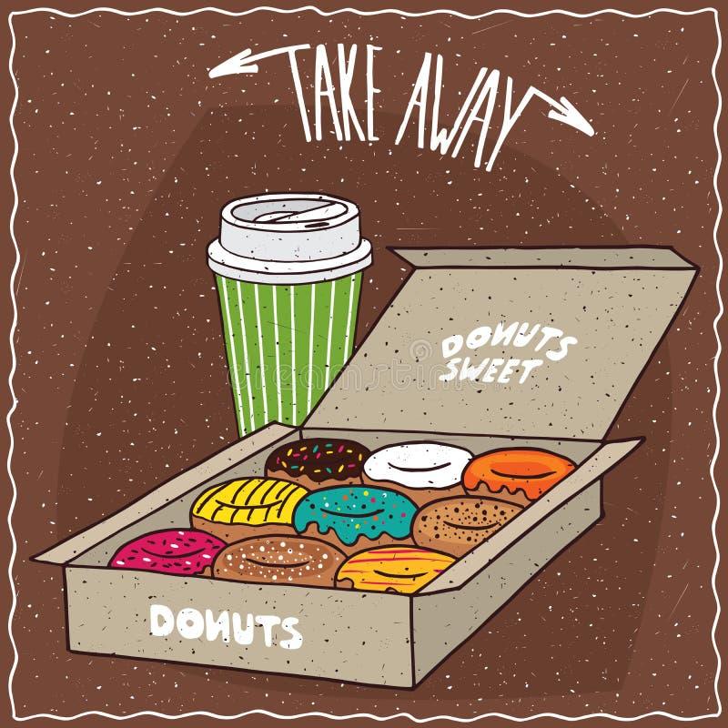 Donuts i lådaask och papperskopp kaffe vektor illustrationer