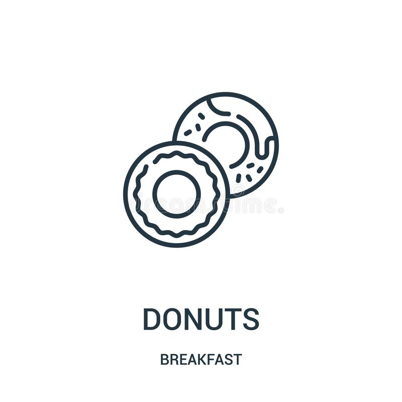 donuts icon vector from breakfast collection. Thin line donuts outline icon vector illustration. Linear symbol for use on web and stock illustration