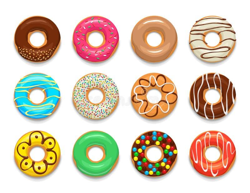 Donuts ikony ustawiać, kreskówka styl ilustracja wektor
