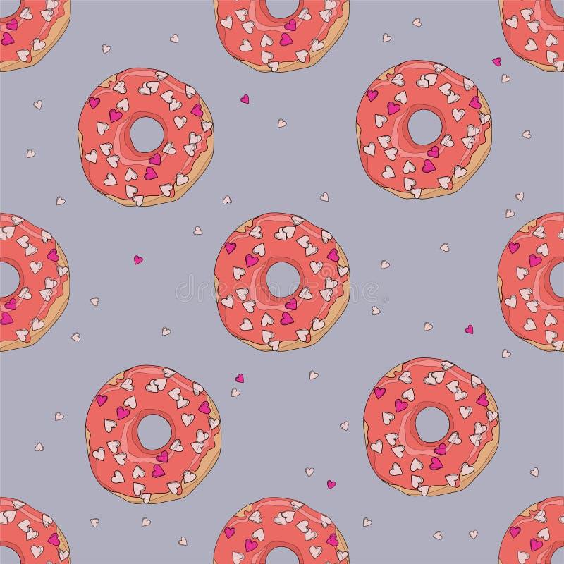 Donuts med röd glasyr och små hjärtor för modell för dag för St-valentin` s sömlös med översikter vektor illustrationer