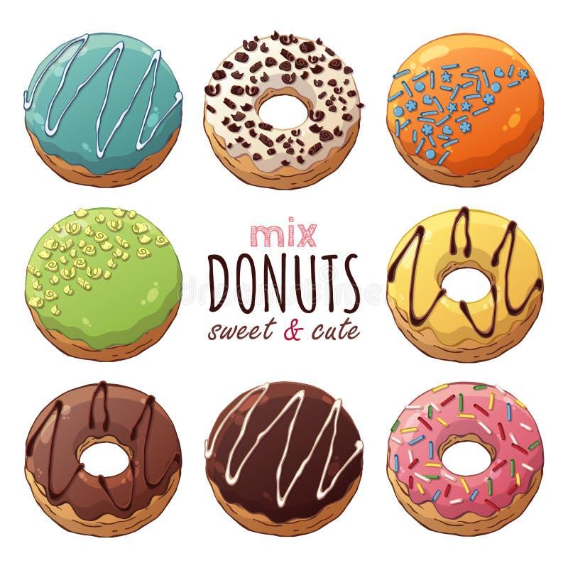 Donuts mieszanka ilustracja wektor