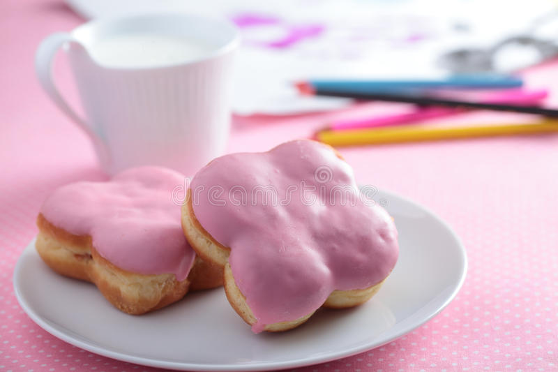 Download Donuts with milk stock image. Image of food, donuts, icing - 25322149