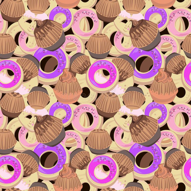 Donuts and muffins pattern. In cartoon style vector illustration