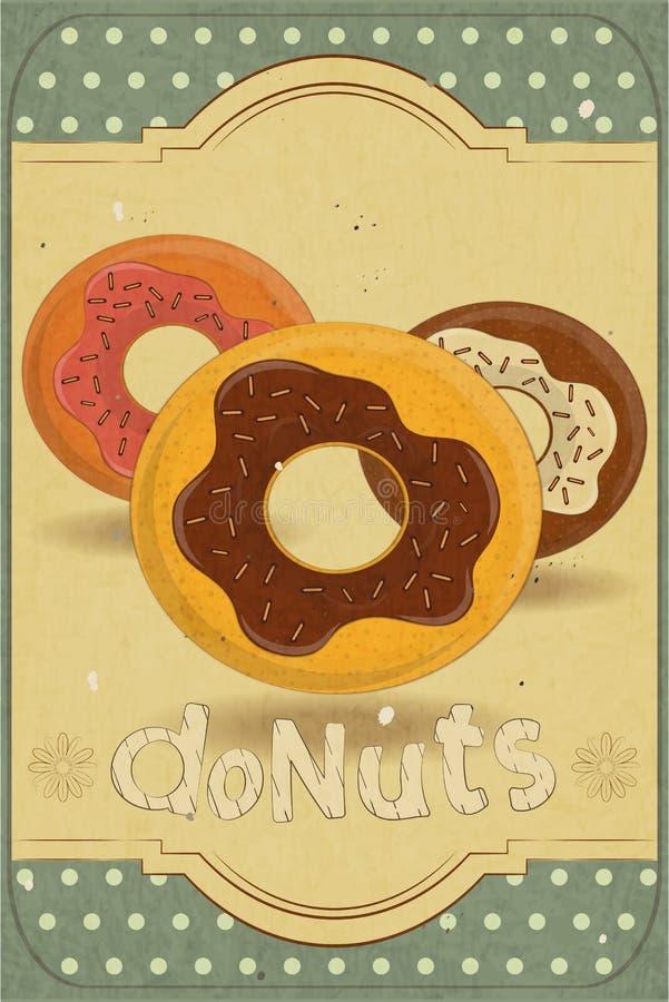Donuts na Retro Karcie ilustracja wektor