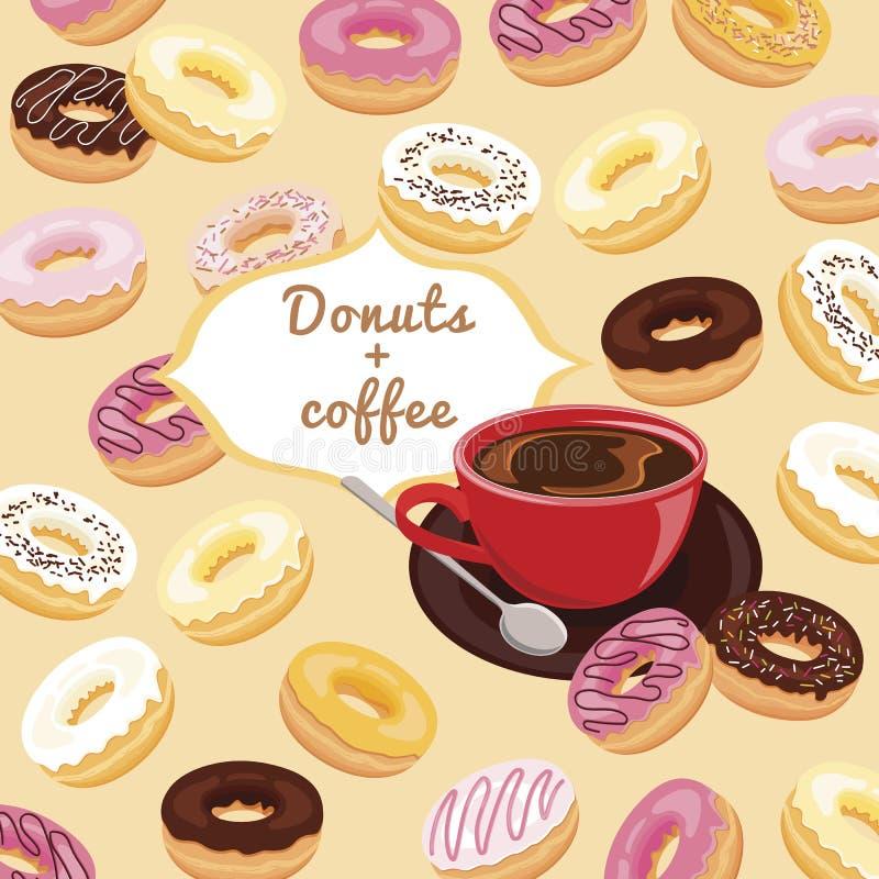 Donuts och kaffetryck för meny stock illustrationer