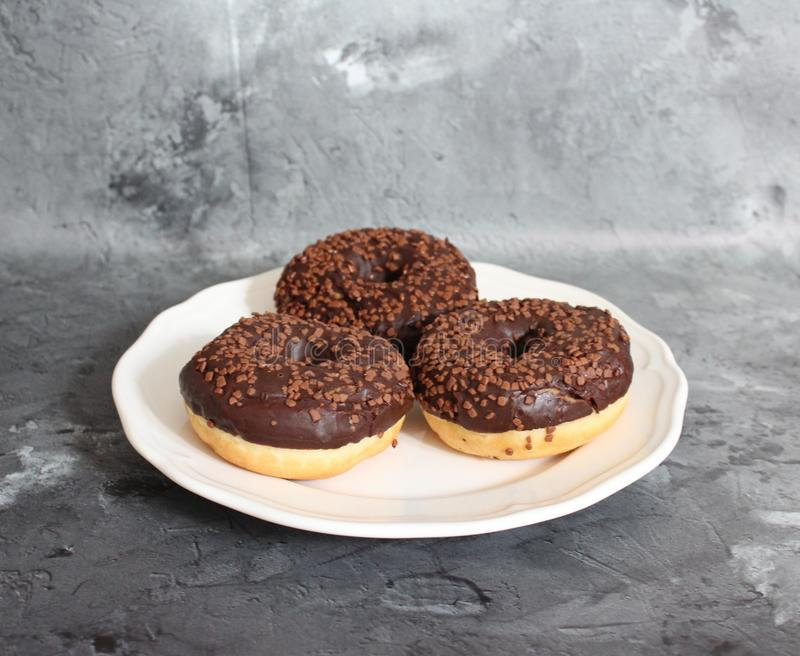 Donuts on a plate stock photo