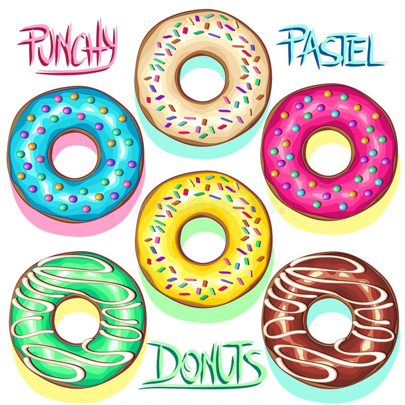 Donuts Punchy Pastel Set of Flavours vector illustration