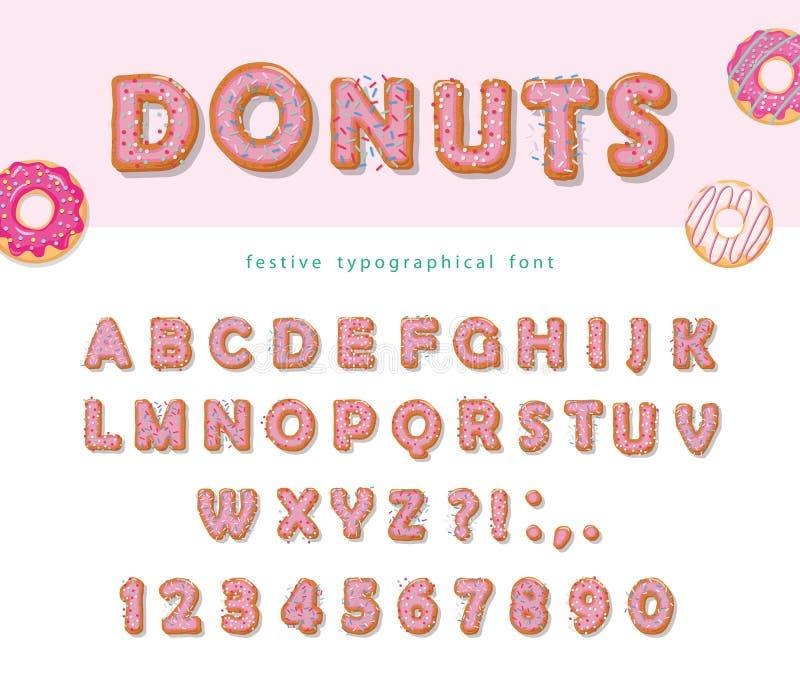 Donuts räcker den utdragna dekorativa stilsorten Tecknad filmsötsaken märker och nummer Gullig design för flickor söt deltagare f royaltyfri illustrationer
