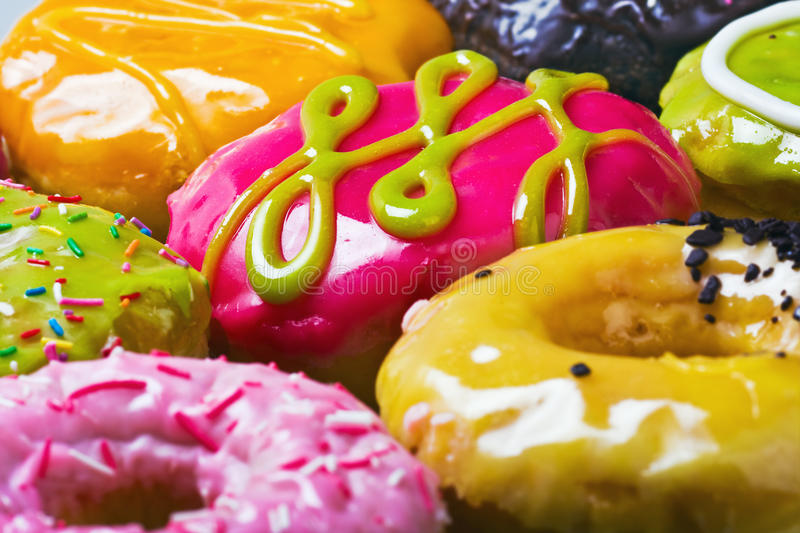 Donuts in the range of background royalty free stock photos
