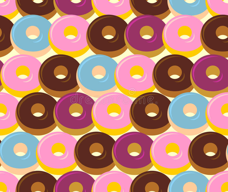 Donuts seamless pattern. Chocolate and strawberry desserts. Swee vector illustration