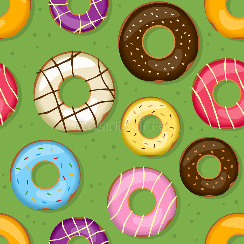 Donuts Seamless Pattern. A seamless pattern with colorful delicious donuts on green background. Useful also as design element for texture, pattern or gift