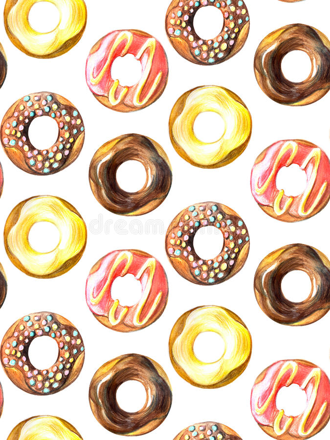 Donuts seamless pattern. Hand drawn watercolor pencils. Donuts seamless pattern. Hand drawn watercolor pencils for design vector illustration