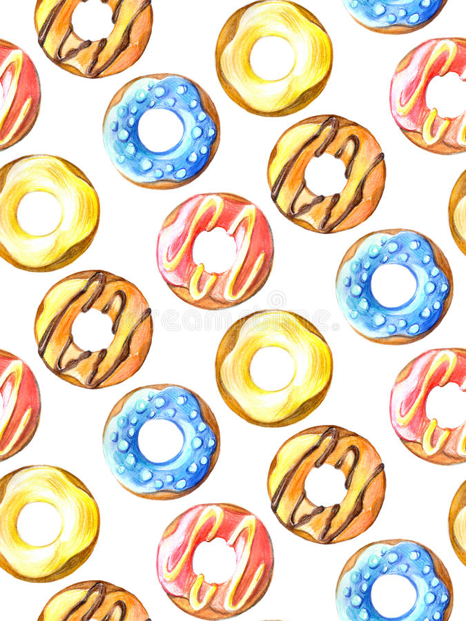 Donuts seamless pattern. Hand drawn watercolor pencils. Donuts seamless pattern. Hand drawn watercolor pencils for design stock illustration