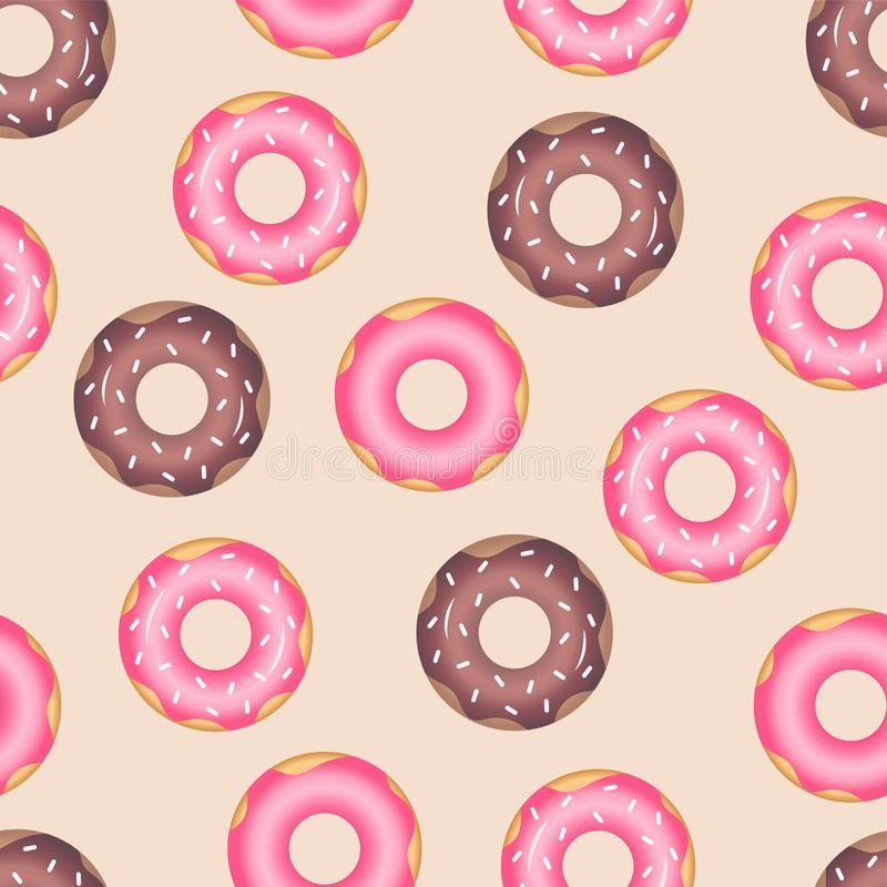 Donuts seamless pattern with icing stock illustration