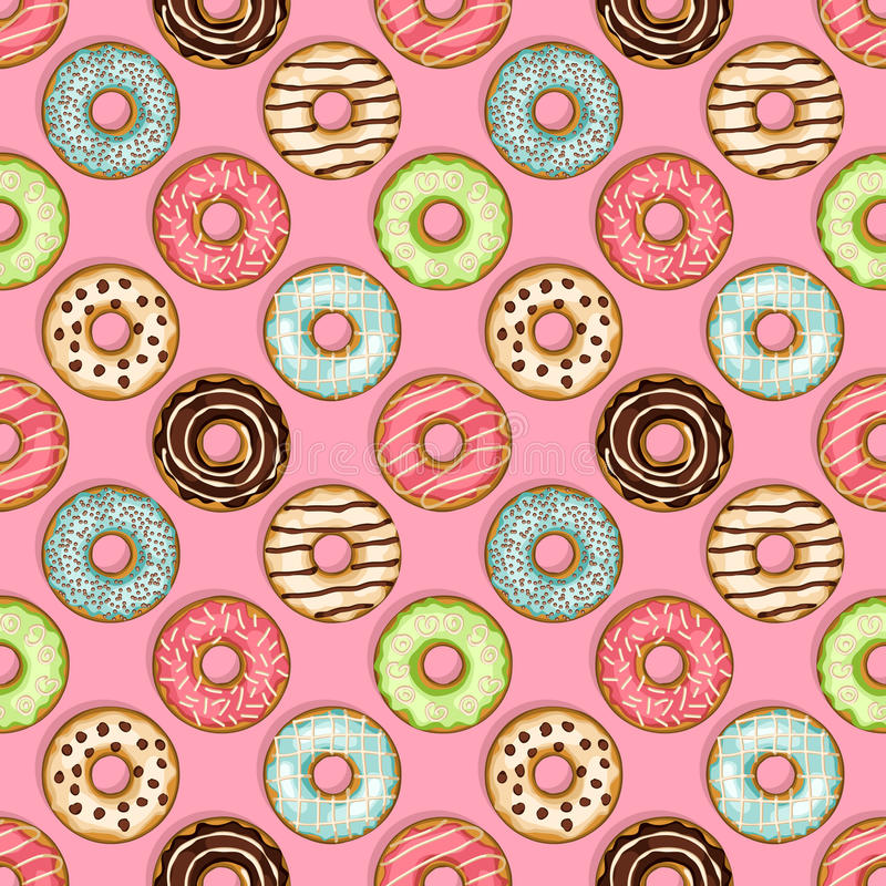 Donuts seamless pattern on pink background royalty free illustration