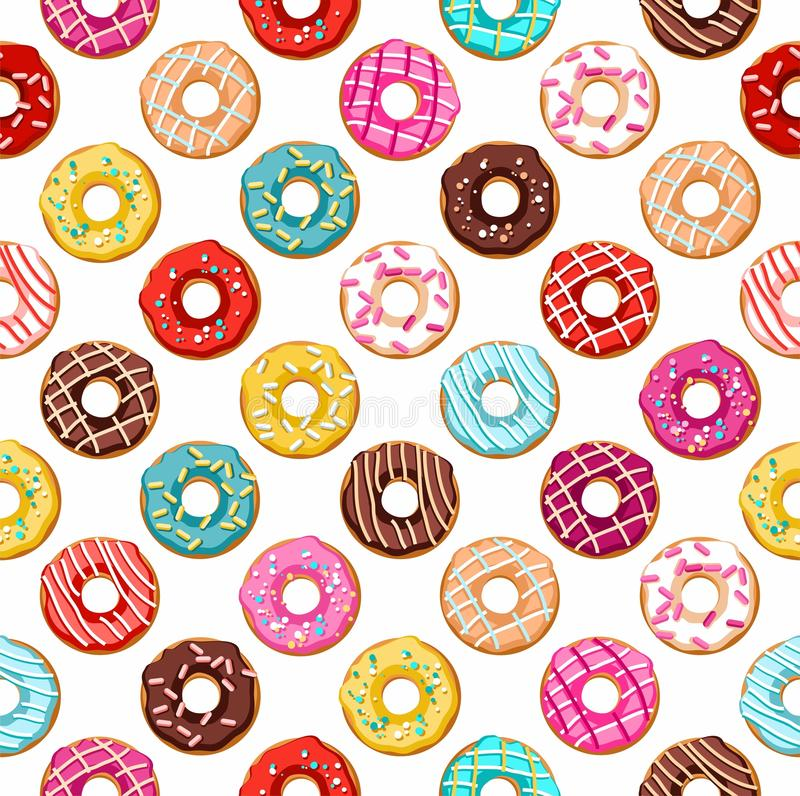 Donuts seamless pattern. Vector seamless pattern with round donuts. There is a coloured flat image on a white background. For the decoration royalty free illustration