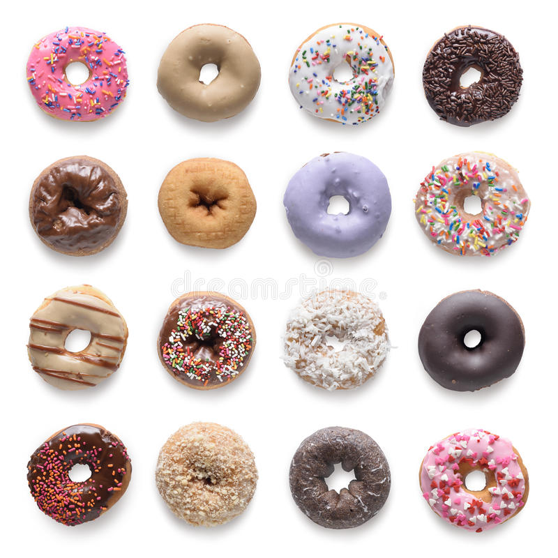 Donuts. Set of assorted donuts on white background. Include clipping path stock photos