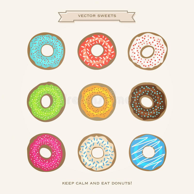Donuts. Set of colorful donuts on white paper background. vector glazed doughnut icons. cartoon style breakfast cake design. cafe decorative menu icons royalty free illustration