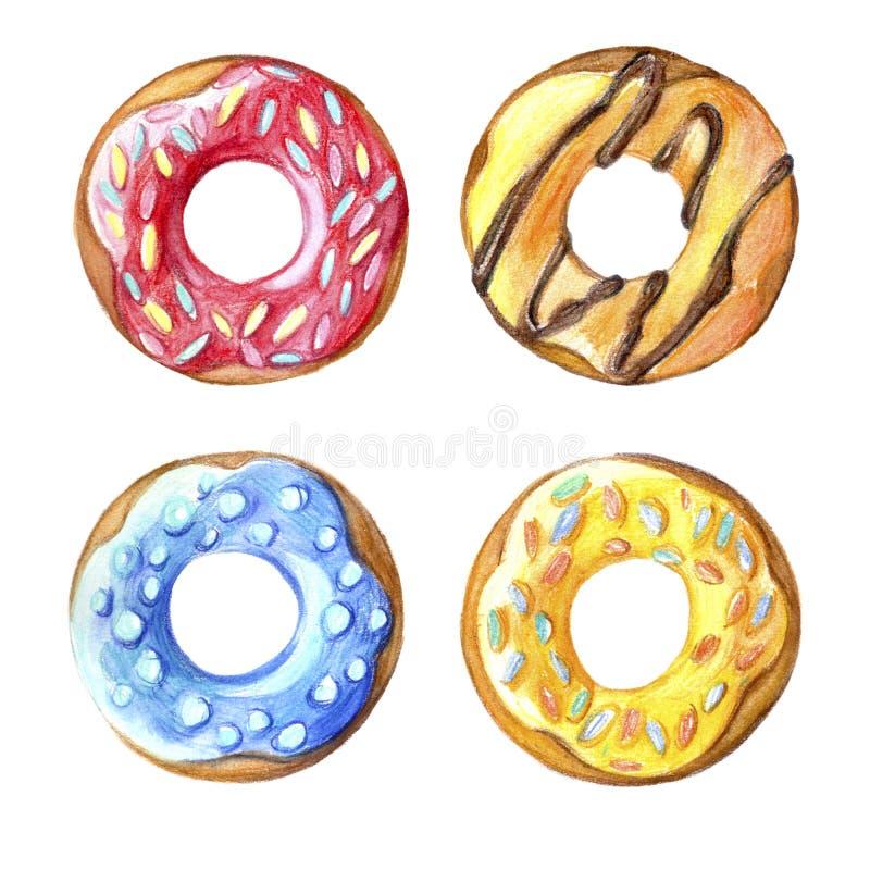 Donuts set. Hand drawn watercolor pencils. Donuts set. Hand drawn watercolor pencils vector illustration