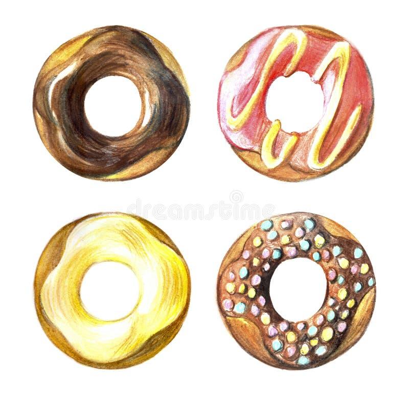 Donuts set. Hand drawn watercolor pencils. Donuts set. Hand drawn watercolor pencils Donuts seamless pattern. Hand drawn watercolor pencils royalty free illustration