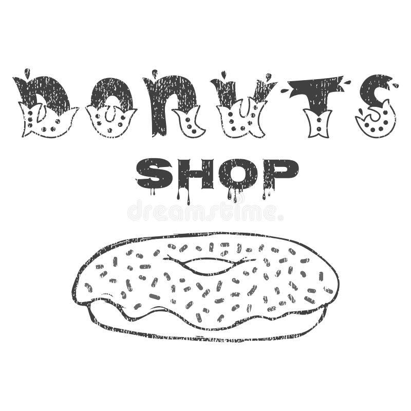 Donuts shoppar Tecknet shoppar eller garnering för menyn Handbokstäver stock illustrationer