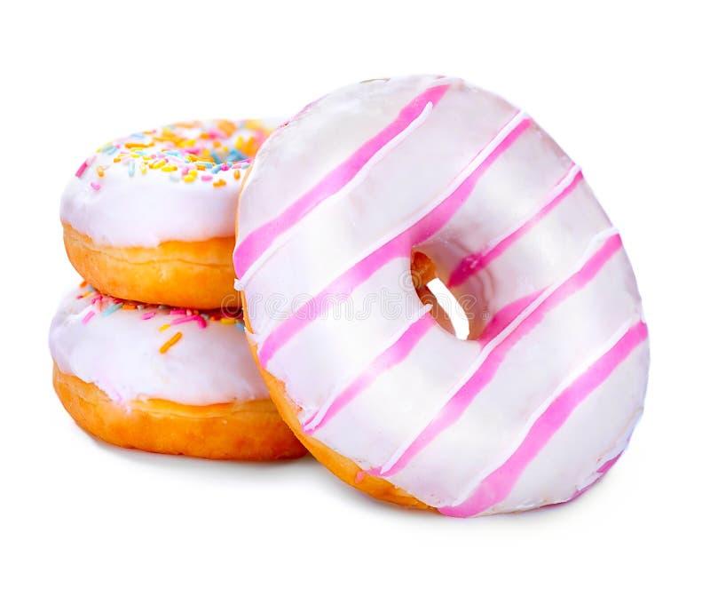 Donuts som isoleras på vitbakgrund royaltyfri fotografi