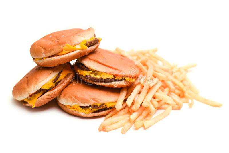 Fast food burgers and french fries isolated stock photography