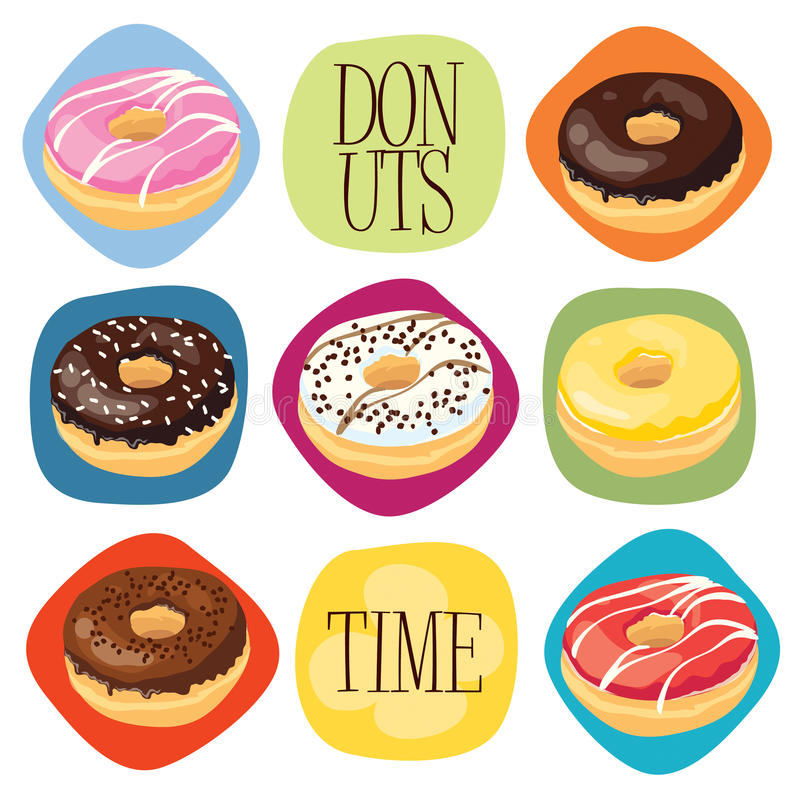 Donuts time. Illustration of seven delicious donuts stock illustration