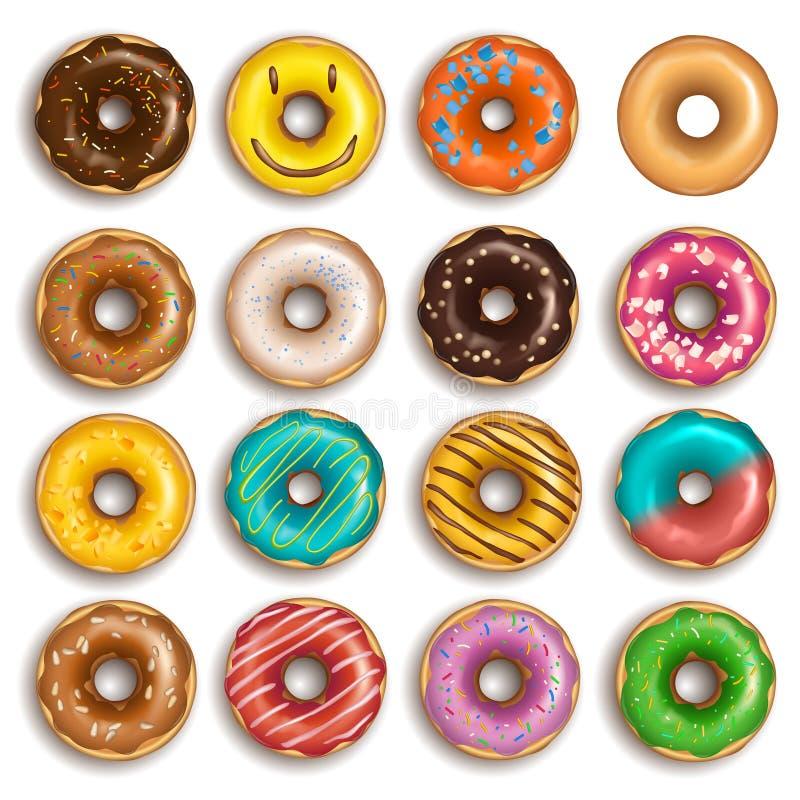 donuts ustawiający ilustracja wektor