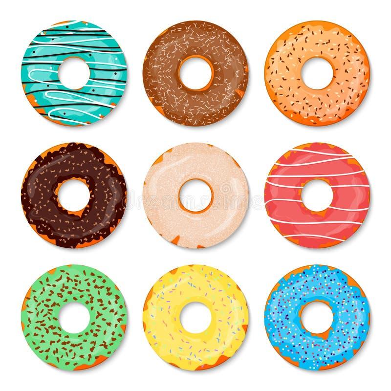 donuts ustawiający Słodki i smakowity karmowy ikony tło dla jakaś projekta rozwiązania również zwrócić corel ilustracji wektora C royalty ilustracja