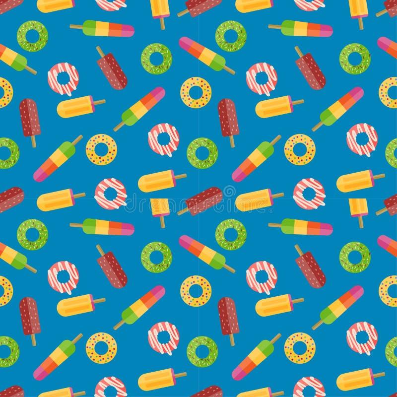 Donuts vector naadloos patroon stock illustratie