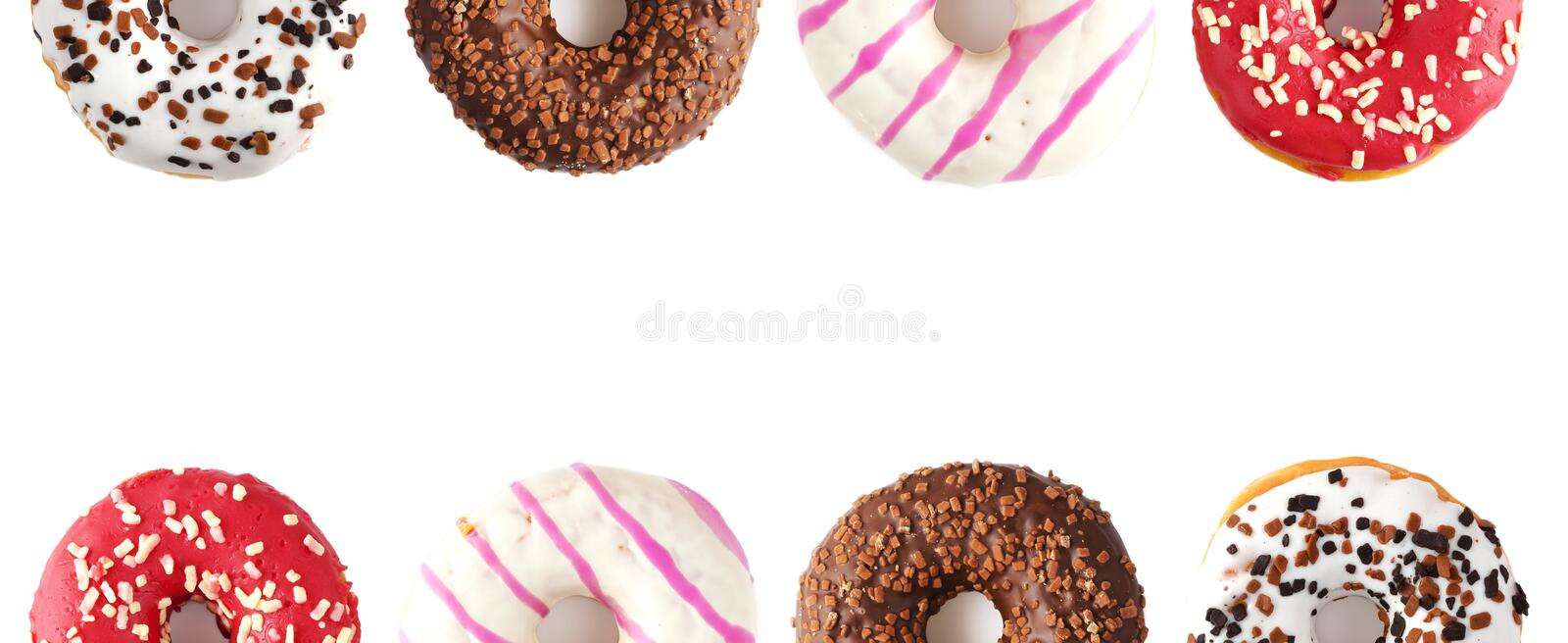Donuts on a white background. Panorama royalty free stock image