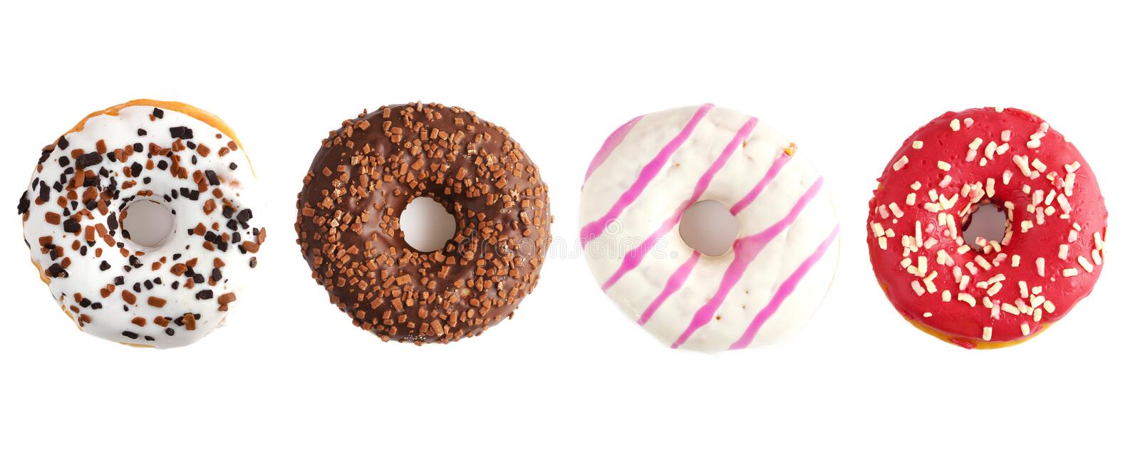 Donuts on a white background. Panorama stock images