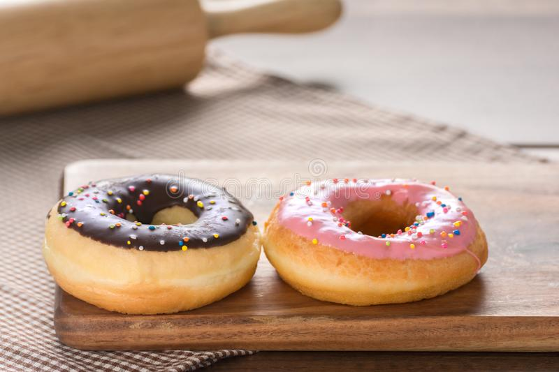 Donuts on Wooden Table. stock image