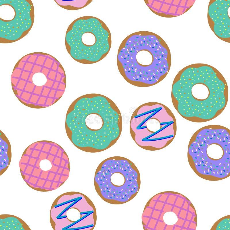 Donuts wzór Wektorowy ilustracyjny bezszwowy wzór z kolorowymi donuts z glazerunkiem i kropi na białym tle royalty ilustracja