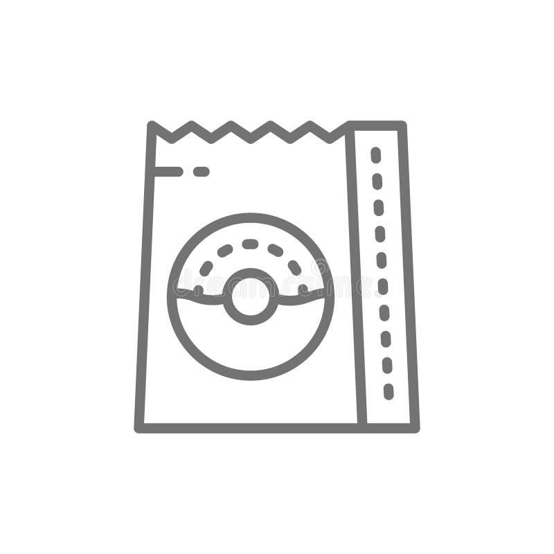 Donuts in zak, voedselpakket, meeneemlijnpictogram vector illustratie