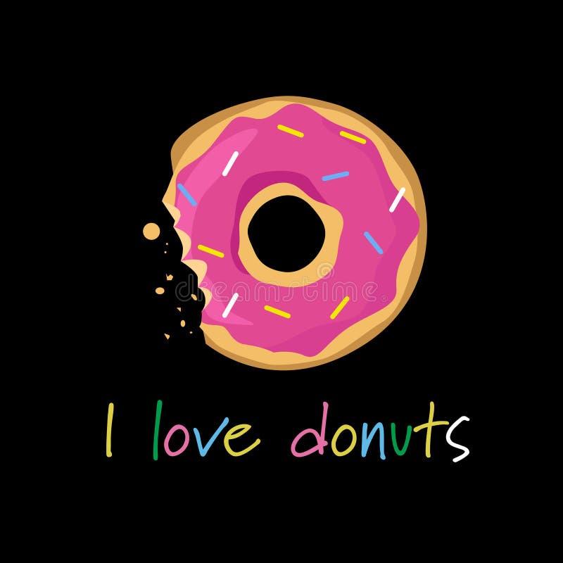 Donuts zakrywali kolorowego lodowacenie gryźć z literowanie szablonu kartka z pozdrowieniami czerni tła royalty ilustracja