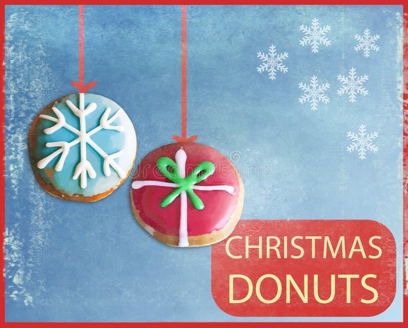 Donutsbaner med julpynt royaltyfri illustrationer
