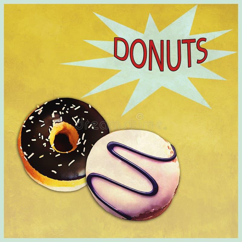 Donutsbaneradvertizing med effekter för grungeundtappning royaltyfri illustrationer