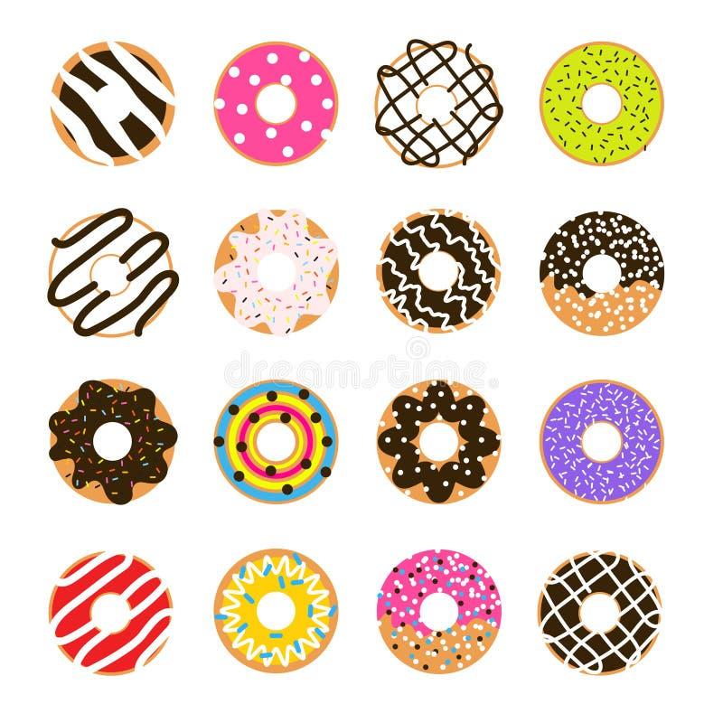 Donutvektorsatz lokalisiert auf Weiß Donut glasig-glänzende Sammlung stock abbildung
