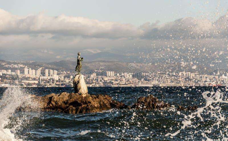 Donzela com a gaivota imagem de stock royalty free